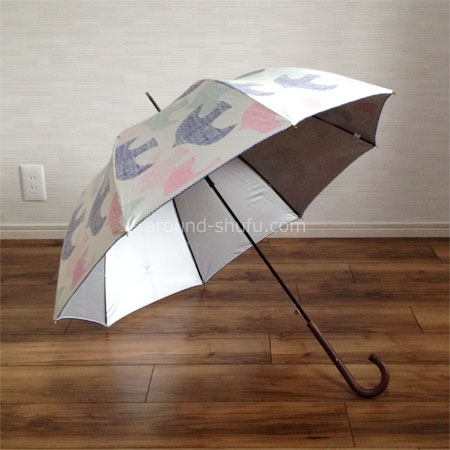 傘 北欧バード柄 晴雨兼用 ジャンプ傘
