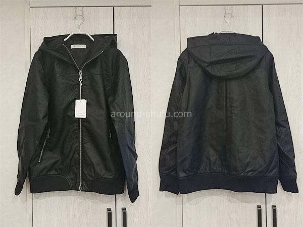メンズファッションプラス フード付きPUジャケット